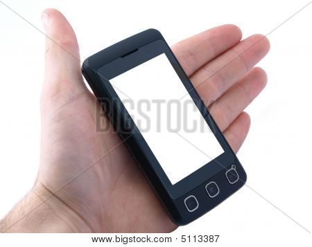 Touchscreen Cell Phone With Copy Space For Text On Screen