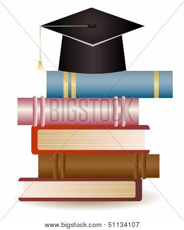 Graduation Cap On Book Stack