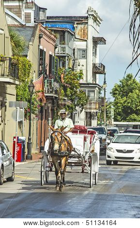 Horse Cart Driver Rides To Jackson Square