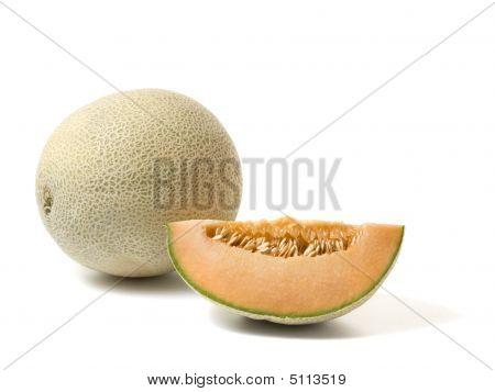 Whole Cantaloupe Melon And Slice