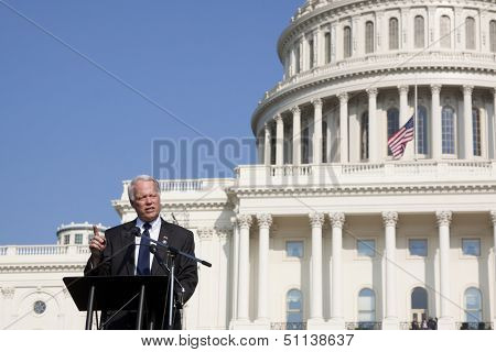 WASHINGTON-SEPT 11: Rep Paul Broun (R-GA) speaks at the 911 Justice for Benghazi rally at the US Capitol on September 11, 2013 in Washington, DC. The event pushed for House Res. 36 and House Res. 306.