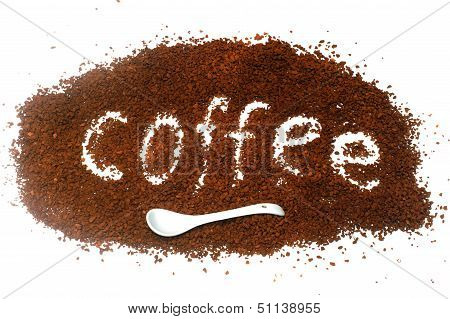 """The Word """"coffee"""" From Instant Coffee Granules"""