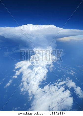 Aerial view of thunderstorm clouds and sky.