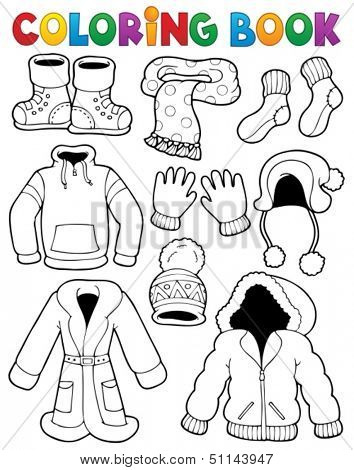 Coloring book clothes theme 3 - eps10 vector illustration.