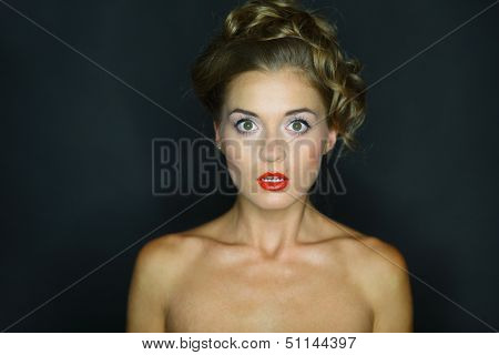 Portrait of a frightened woman with eyes wide open on a dark background