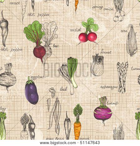 Seamless kitchen background of vegetables, vector illustration in vintage style.