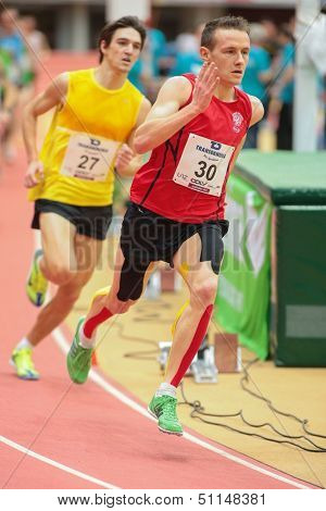 LINZ, AUSTRIA - JANUARY 31 Runners compete in the B final of the men's 3000m event on January 31, 2013 in Linz, Austria.
