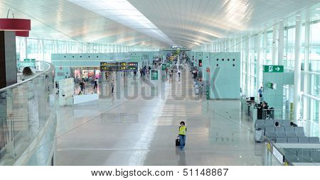 Barcelona - JUNE 12, 2011: A general view of a hall in Barcelona International Airport on JUNE 12, 2011 in Spain. One of the biggest airport in Europe