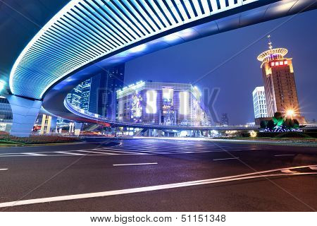 Modern City At Night In Shanghai