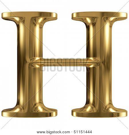 Golden font type letter H, uppercase