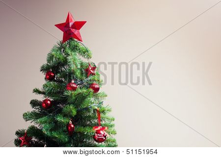 decorated christmas tree with copy-space