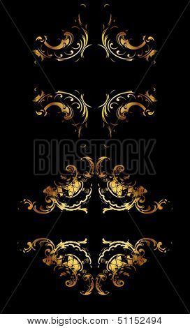 Ornate Gold Curves On Black