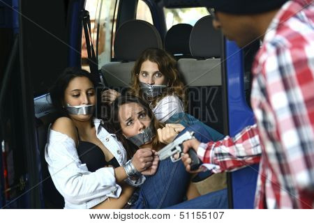 Men kidnapping gagged and tied up women