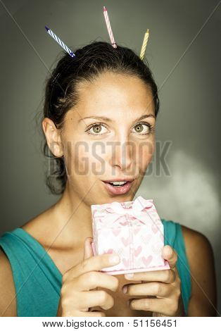 happy young woman with a gift