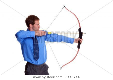 Businessman Bow And Arrow Side View