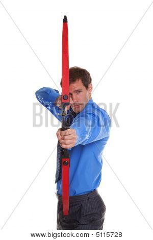 Businessman Bow And Arrow Aiming At Camera