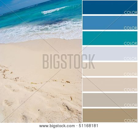 Beach background with color swatch