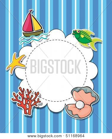 Illustration of an empty round template with sea creatures