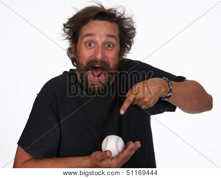 Funny Baseball Fan Who Caught a Foul Ball on White Background