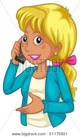 Illustration of a businesswoman using a cellphone on a white background