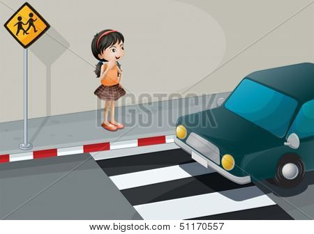 Illustration of a little girl at the pedestrian lane