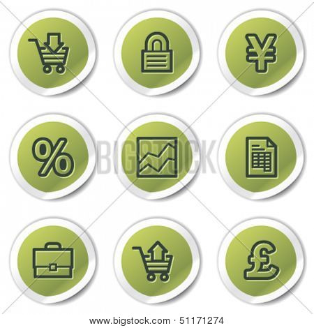 E-business web icons, green circle stickers