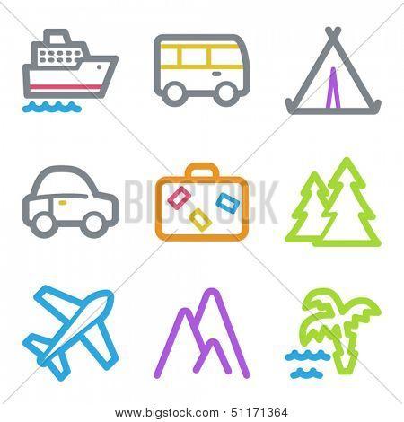 Travel web icons set 1, color line contour series