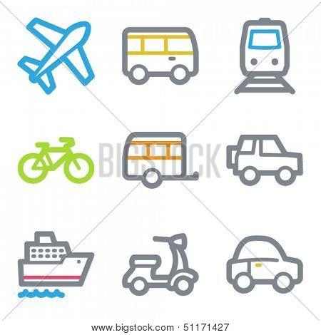 Transport web icons, color line contour series