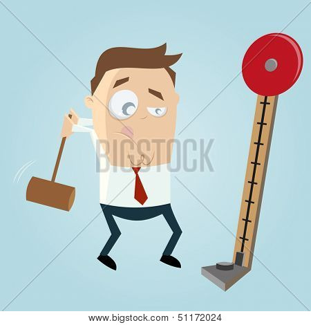 funny business man with strength tester