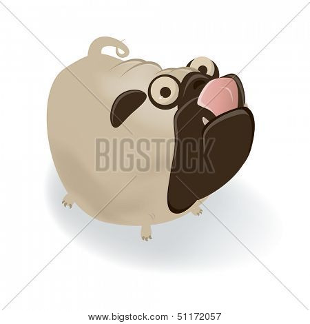 funny cartoon pug is licking