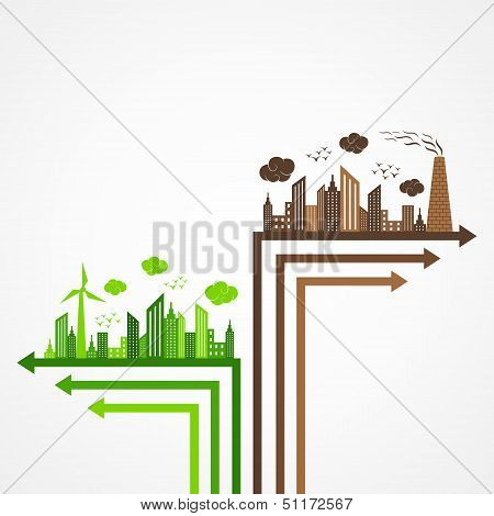 Ecology and pollution concept with brain
