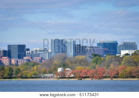 Washington DC, Rosslyn with Potomac river foreground in Autumn - United States