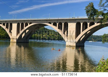 Washington DC, Key Bridge and reflection over Potomac River