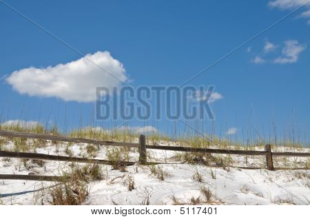 Rail Fence On Sand Dune