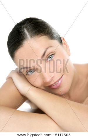 Beautiful Blue Eyes Perfect Woman Clean Portrait