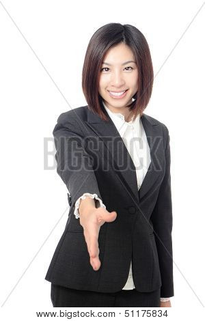 Successful Business Woman Holds Out Her Hand To Greet