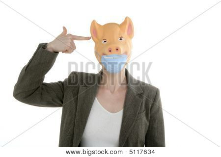 Swine Flu Metaphor, Woman With Piggy Mask