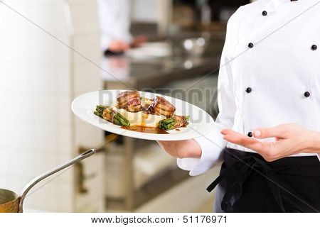 Female Chef in hotel or restaurant kitchen cooking, only hands to be seen, she is presenting a dish