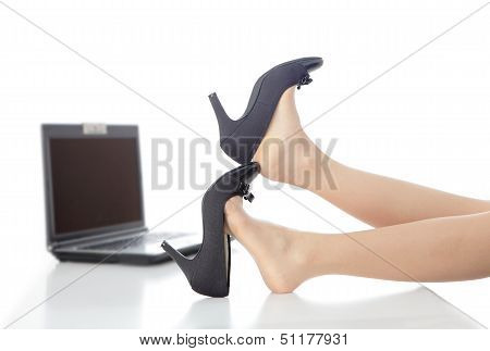 Young Beauty Business Woman Take Off Her High Heels Shoes