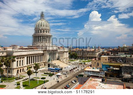 View of The Capitol in old Havana, Cuba