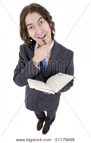 silly businessman with a book in white background