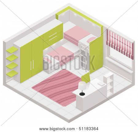 Vector isometric children room icon