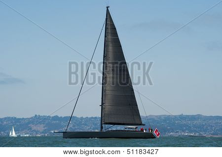 SAN FRANCISCO, CA - SEPTEMBER 13: Super yacht Chrisco competes in a regatta during the America's Cup in San Francisco, CA on September 13, 2013