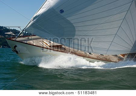 SAN FRANCISCO, CA - SEPTEMBER 13: Super yacht Kealoha competes in a regatta during the America's Cup in San Francisco, CA on September 13, 2013