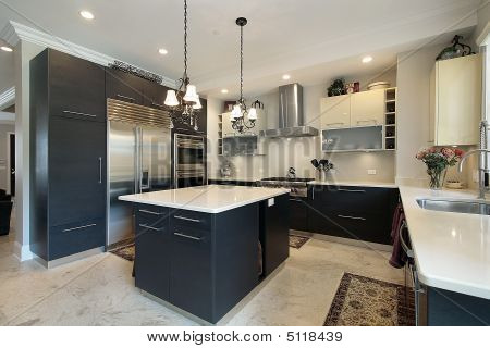 Kitchen With Black Cabinets Stock Photo & Stock Images | Bigstock