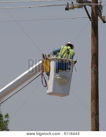 Electrical Worker In Bucket