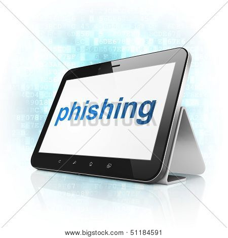 Privacy concept: Phishing on tablet pc computer