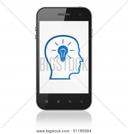 Data concept: Head With Lightbulb on smartphone