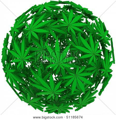 Medicinal marijuana leaves in a sphere background pattern to illustrate medical uses of cannabis