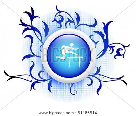 hurdle icon on blue decorative button